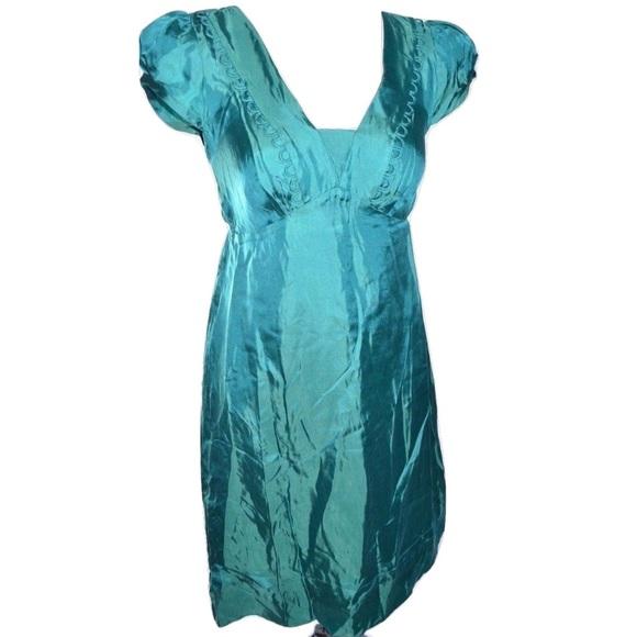 992fe8b211 Banana Republic Dresses | Teal Silk Dress Sz 02 Xs S Small | Poshmark